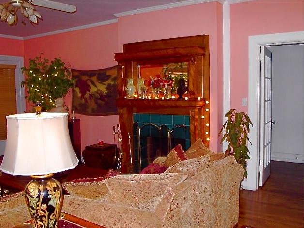 Living room from front door showing doorway to hall